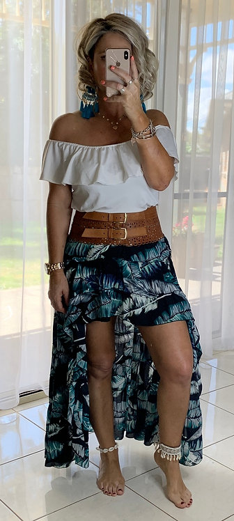 Roxy Skirt - Black Banana Leaf
