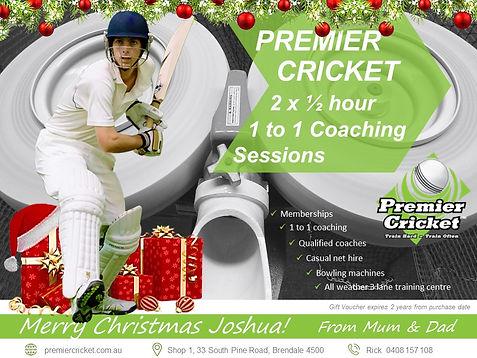 Premier Cricket christmas gift vouchers