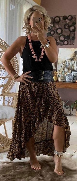 Halo Wrap Skirt - Latte Leopard