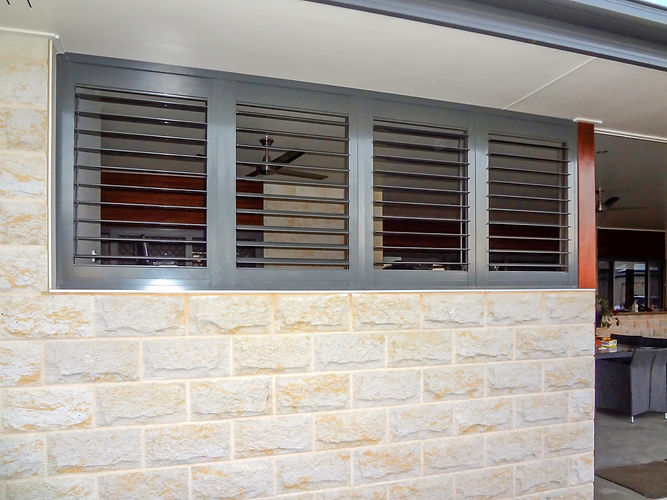 External aluminium plantation shutters in Brisbane northside location
