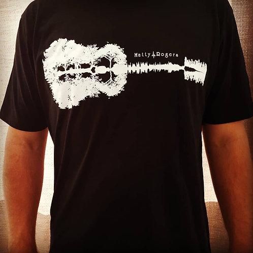 100% Organic Combed Cotton T-shirt - Guitar print (black)