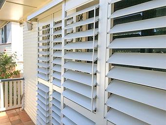 External aluminium plantation shutters in Brisbane northside location