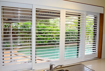 Internal timber & pvc / polymer plantation shutters in Brisbane northside location