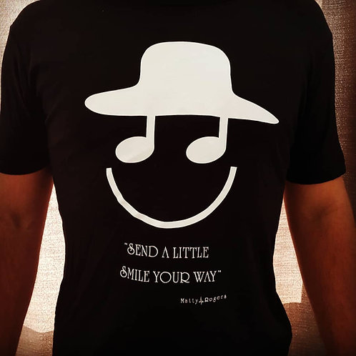 100% Organic Combed Cotton T-shirt - Smile print (black)