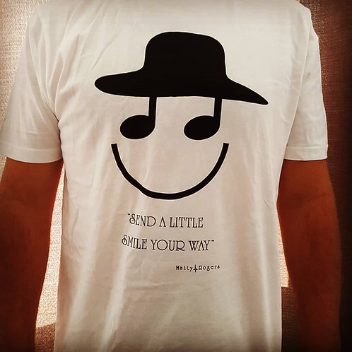 100% Organic Combed Cotton T-shirt - Smile print (white)