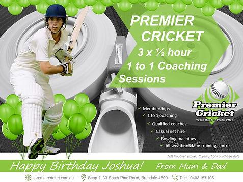 Premier Cricket birthday gift vouchers