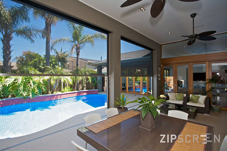 Zipscreen folding arm & wire guide awnings in Brisbane northside location