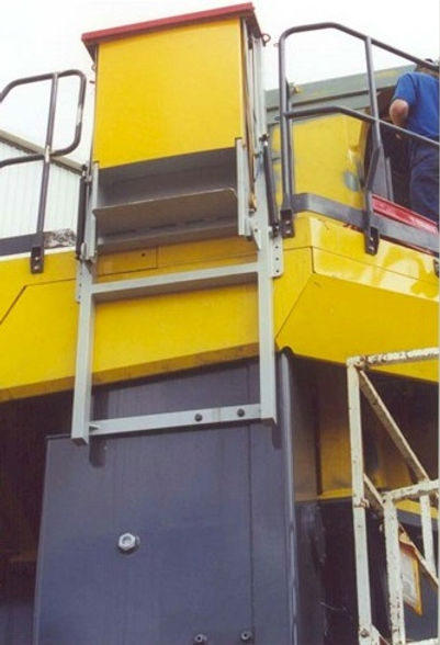 Mining loaders emergency escape chutes