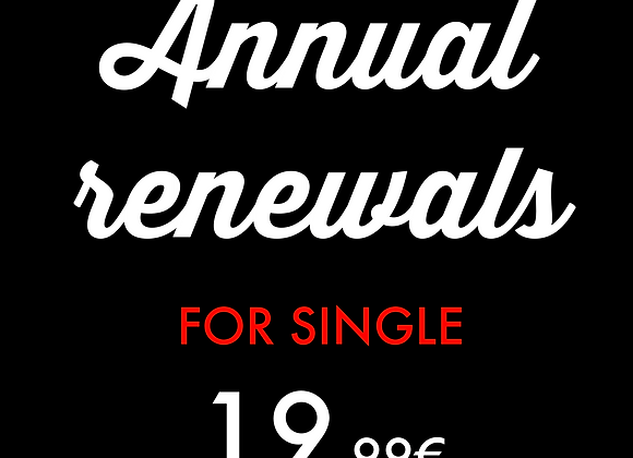 Single : Annual renewals