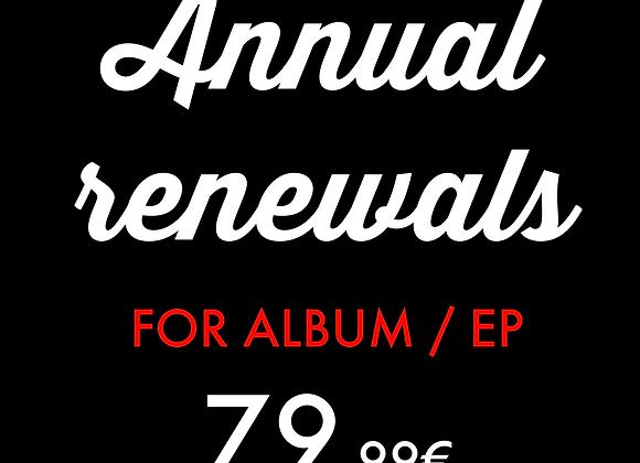 Album / EP : Annual renewals