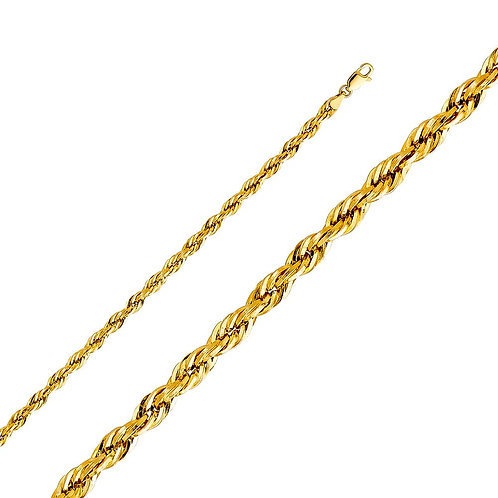 14k Yellow Gold 4-mm Hollow Rope Chain Necklace