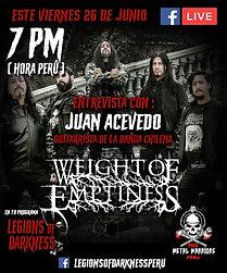 WEIGHT OF EMPTINESS: ¡Entrevista en vivo este viernes sobre el programa Legions of Darkness!