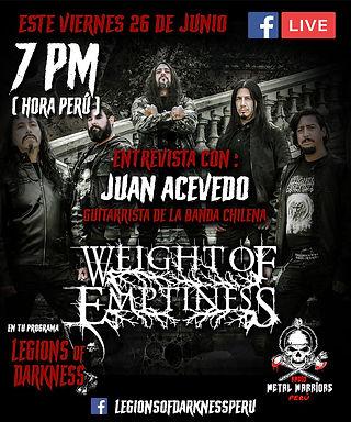 WEIGHT OF EMPTINESS: Entrevista ao vivo nesta sexta no Programa Legions of Darkness!
