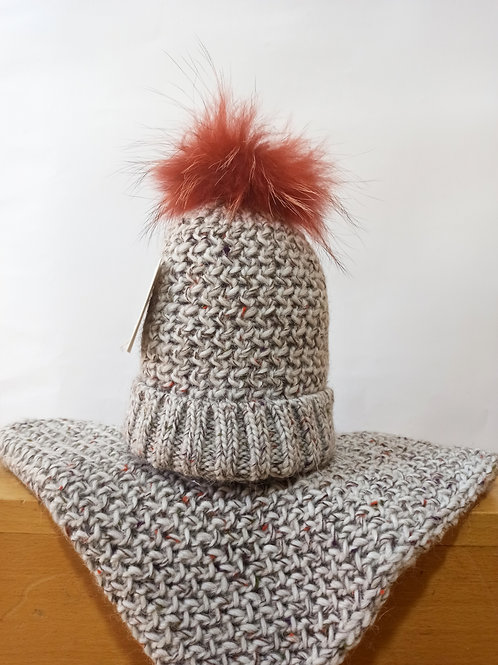 Gorro+Cuello lana con pompón NAVARRO