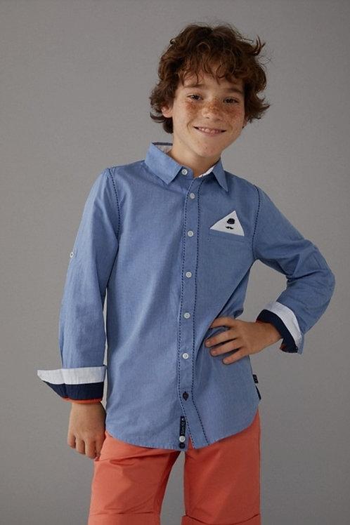 Conjunto Camisa azul y Bermuda naranja