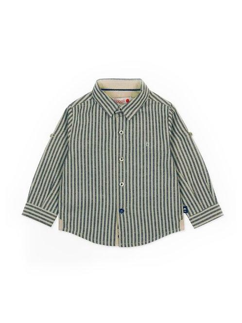 Camisa remangable con rayas color azul marino