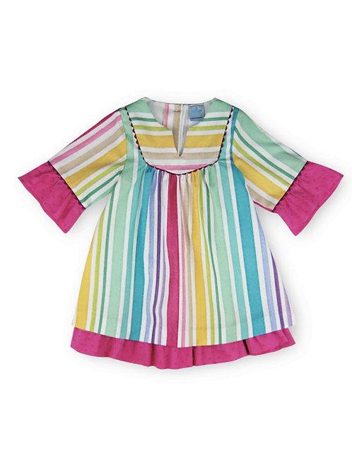 Vestido túnica rayas multicolor fucsia SARDON