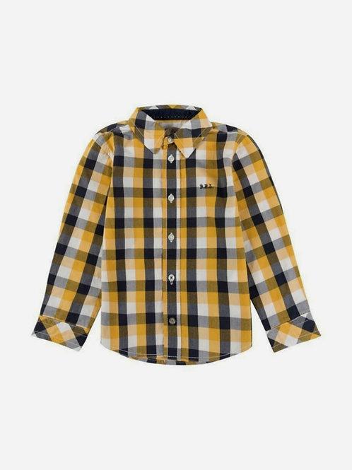Camisa algodón cuadros mostaza y marino BOBOLI