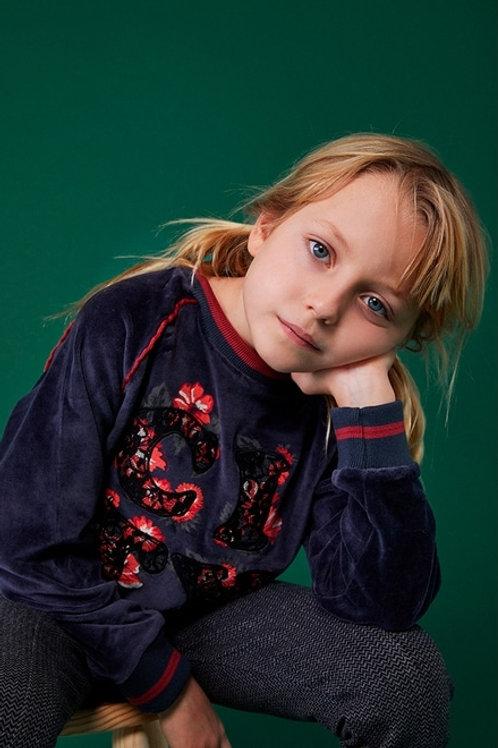 Sudadera niña terciopelo con bordado BOBOLI