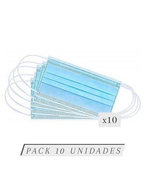 Mascarilla higiénica desechable infantil azul / Pack 10 unidades