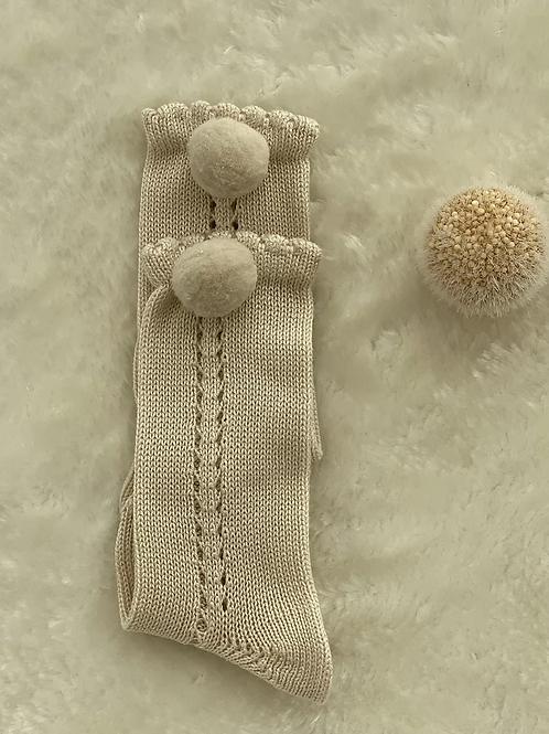 Calcetines perle con pompón camel CÓNDOR