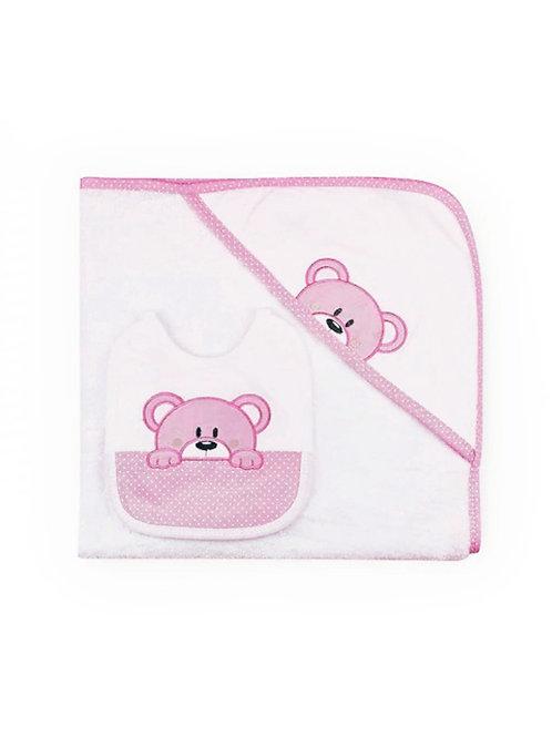 Capa de baño bebé + Babero Osito rosa SARDON