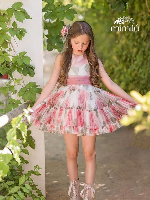 Vestido de gasa rosa empolvado