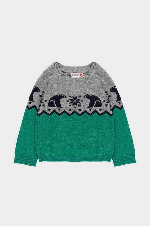 Jersey tricotosa greca verde y gris BOBOLI