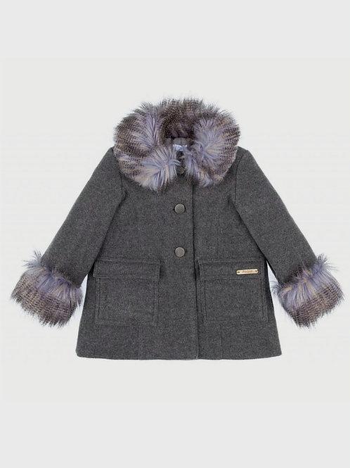 Abrigo abotonado de paño con forro y pelo gris FOQUE