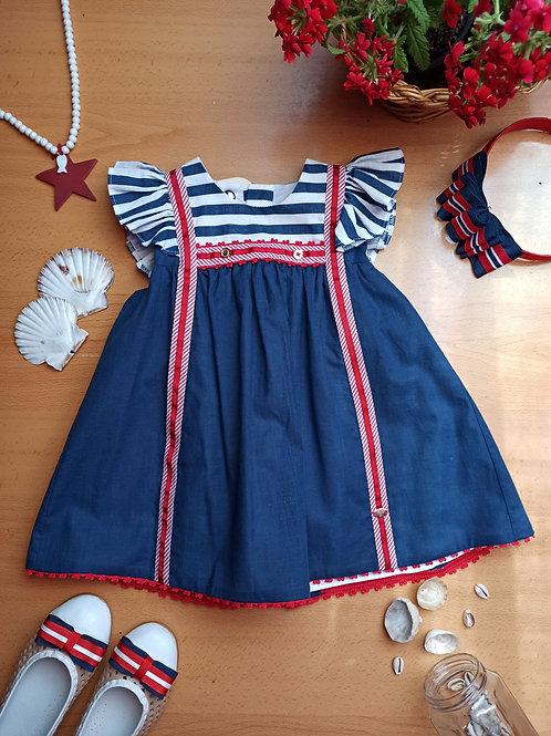Vestido bebé navy Monet MARTA Y PAULA