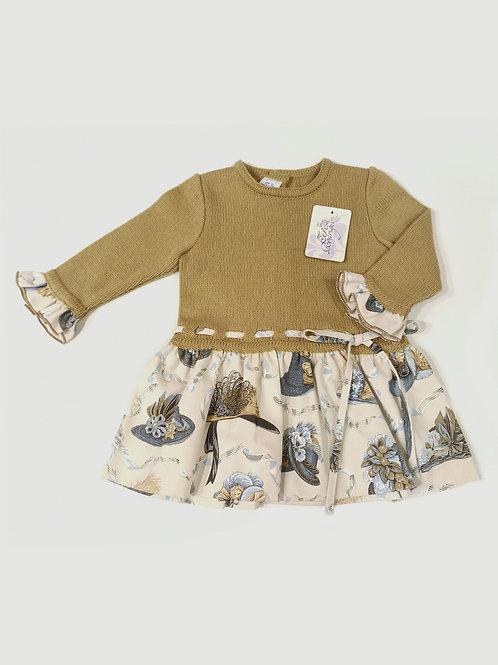 Vestido combinado punto camel vintage TERESA RODRÍGUEZ