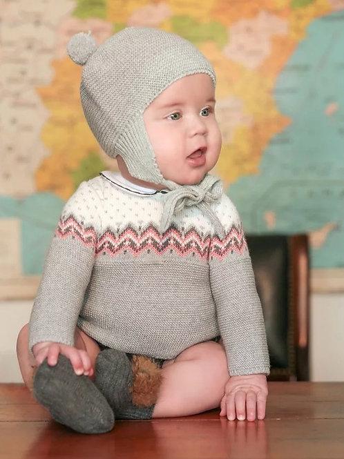 Conjunto Ranita bebé punto gris greca rosa FOQUE