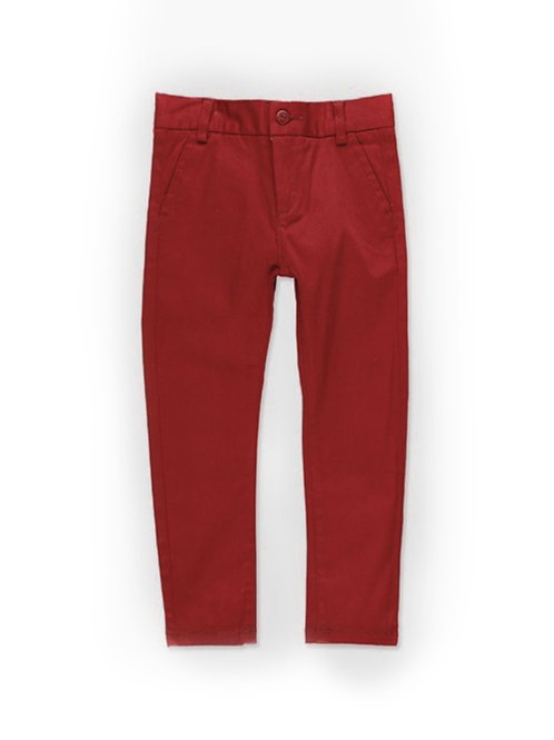 Pantalón básico satén elástico color guinda