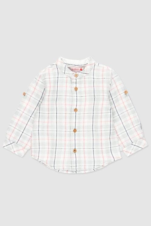 Camisa remangable de cuadros rosa BOBOLI