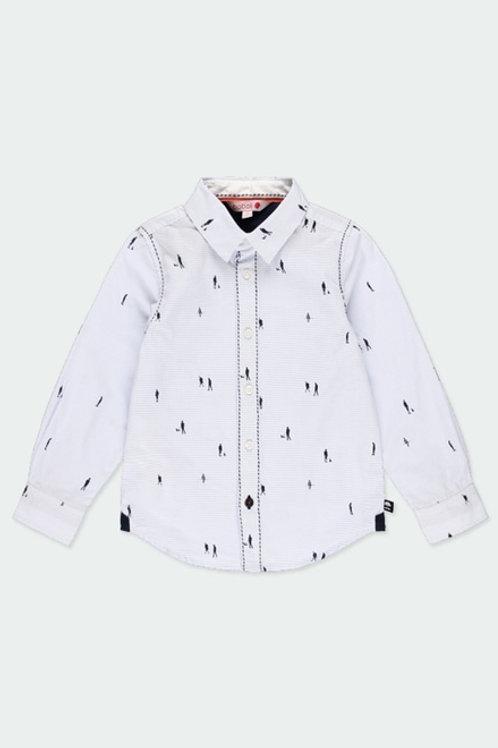 Camisa algodón popelín listada de niño  BOBOLI