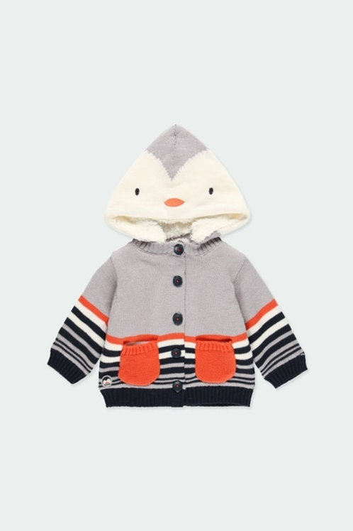 Chaqueta tricotosa con capucha familia pingüino BOBOLI