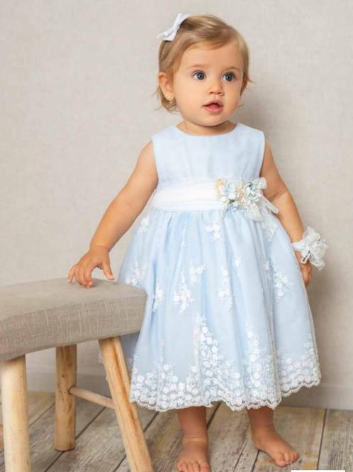 Vestido azul bebé con bordados