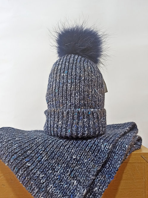 Gorro+Cuello lana marino con pompón NAVARRO