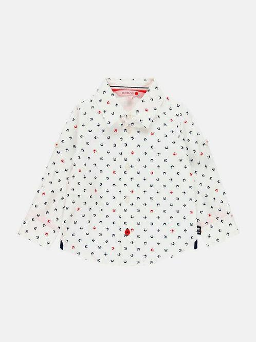 Camisa bebé popelín remangable Navy BOBOLI