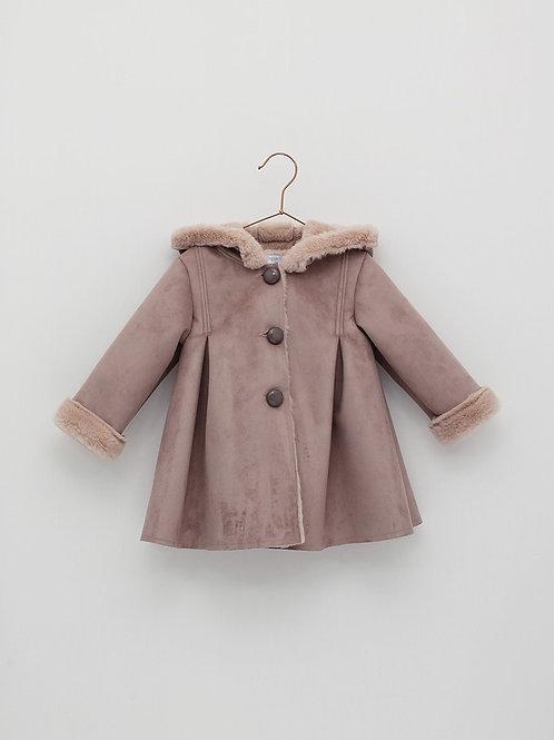 Abrigo rosado abotonado con capucha FOQUE
