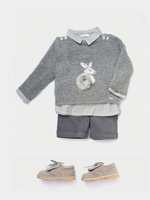 Jersey bebé gris con pompón familia Conejito FOQUE