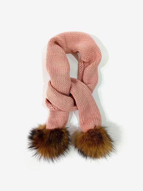 Bufanda lana pompones de pelo rosa SARDON