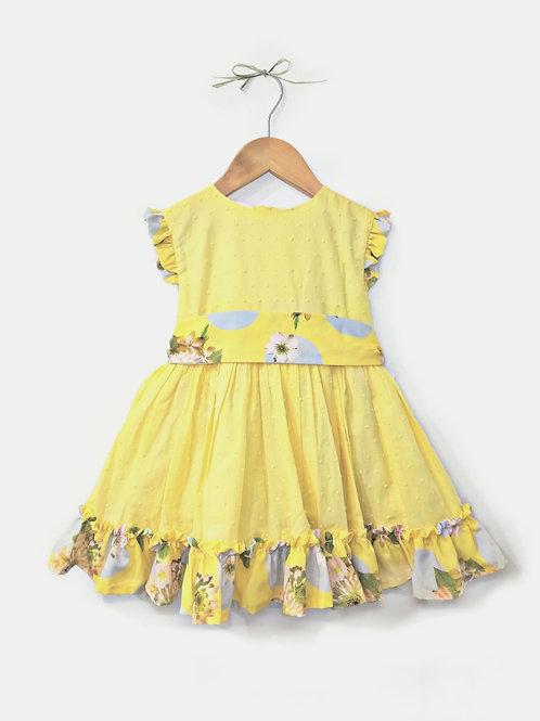 Vestido miel combinado TERESA RODRIGUEZ