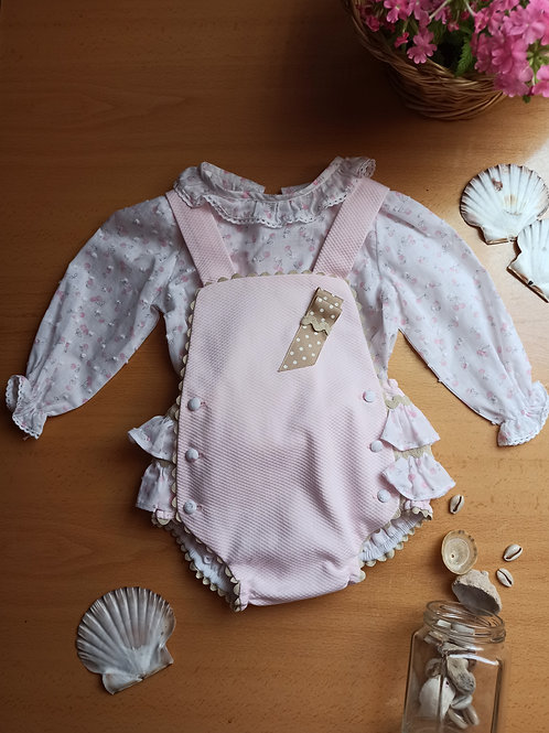 Cojunto bebé ranita rosa y camisa plumeti