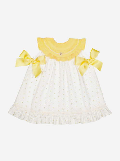 Vestido combinado amarillo con lazos sol FOQUE