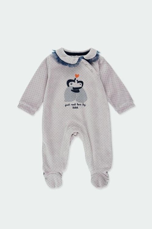 Pijama terciopelo con pie antideslizante topitos gris BOBOLI