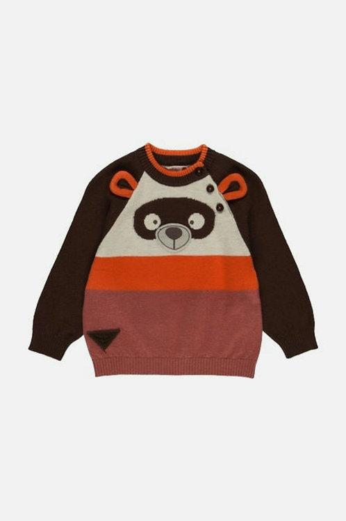 Jersey tricotosa con botones osito naranja BOBOLI