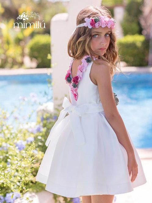 Vestido con espalda de flores