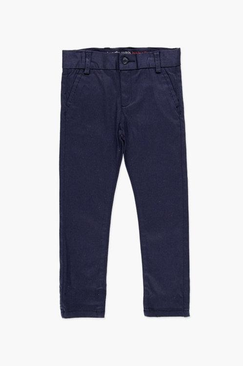 Pantalón básico de niño satén elástico azul marino