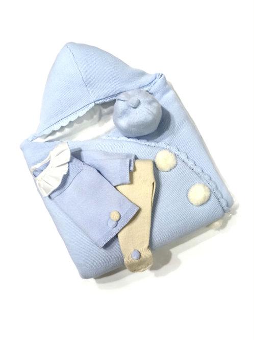 Saco bebé azul celeste familia Pompones GRANLEI